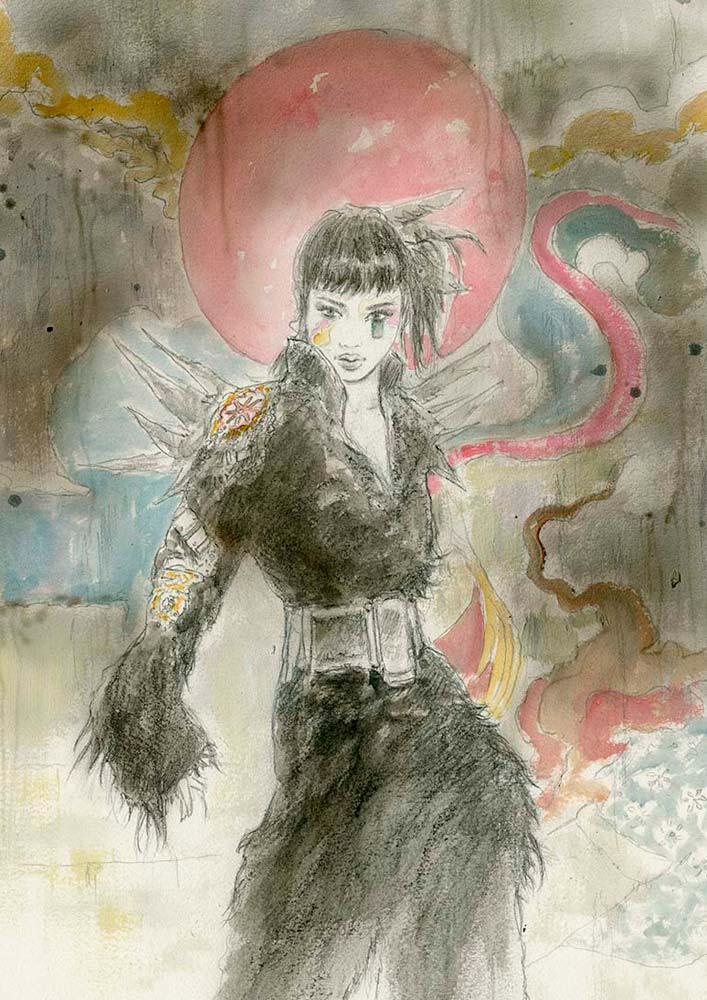 Romulo-Royo-Laberinto-Gris-Art-686-P-Title_Flowers_and_Thors_XV-Size_38x56cm-Asian-Tokio-girls-gallery-art-contemporary