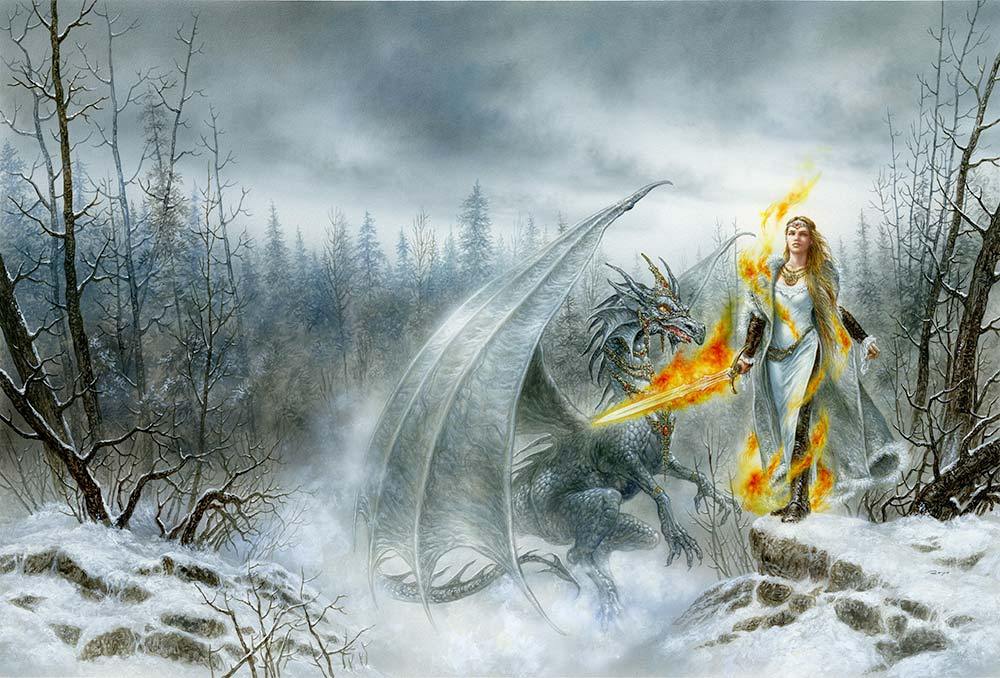 Mysterious-Luis-Royo-Fantasy-Paintings-drawings-Dragon-Laberinto_Gris_gallery_art_sales_originals_illustration