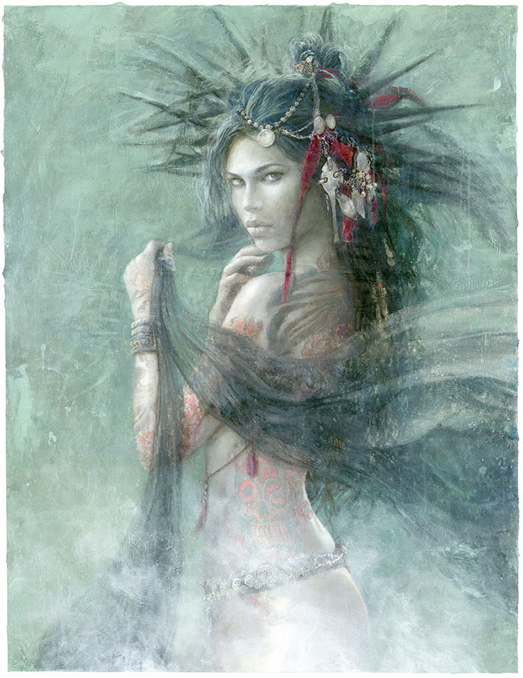 Ref_649P-Romulo-Royo-painting-Fantasy-Skull-And-Roses-Laberinto_Gris_gallery-Pag_54_55-LuisRoyo-Laberinto-Gris-art-gallery-illustration-The_Needles_of_Joy-Book_Dark_Labyrinth-erotic-bande_dessinée-fantasy-Art-Contemporary-sexy-Acrylic-oil