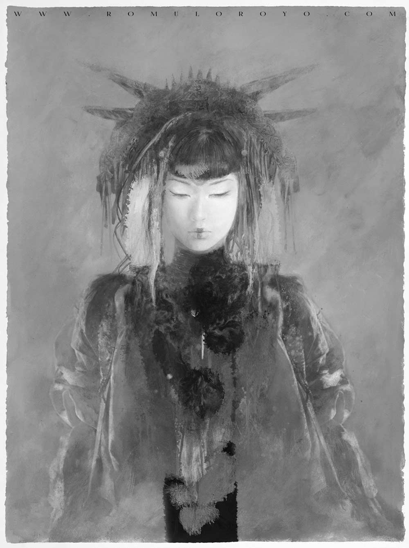 Context-Art-Miami-Luis-Royo-Romulo-Royo-Fantasy-Paintings-drawings-Dragon-Laberinto_Gris_gallery_art_sales_originals_illustration-Niburi-