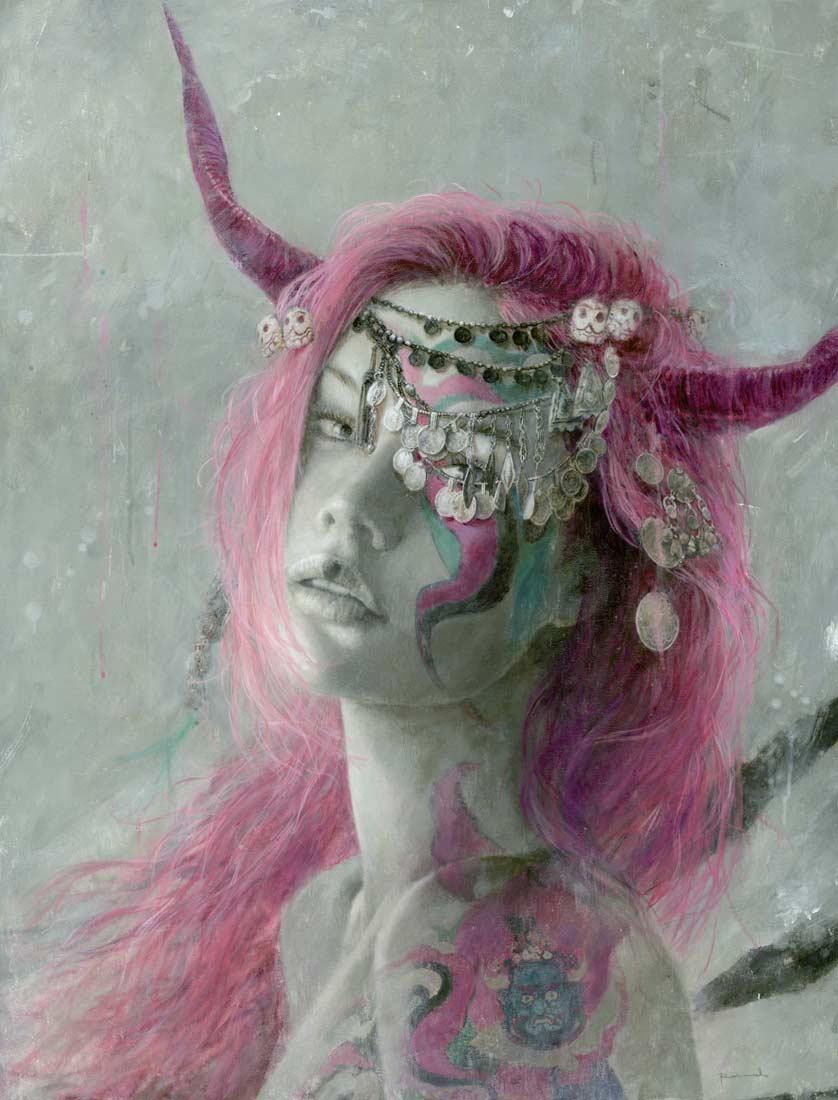 Romulo_royo_laberinto_gris_gallery_art_fantasy_Painting_Luz_in_irkalla_