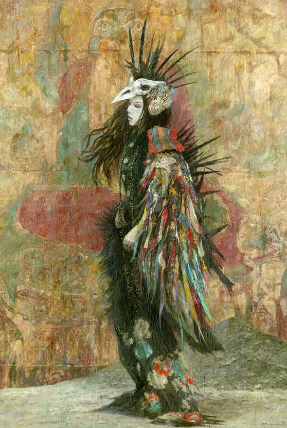 Romulo-Royo-Laberinto_Gris_gallery_art-contemporary_painting-fantasy-sale-originals-ripped colours